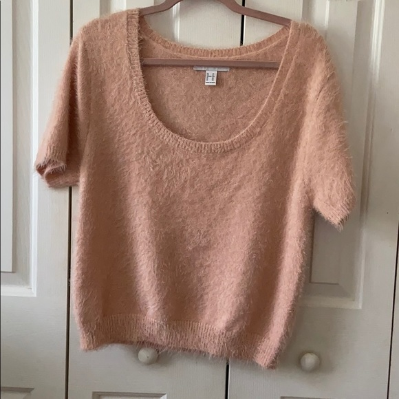 Light Pink Cropped Sweater Top NWOT